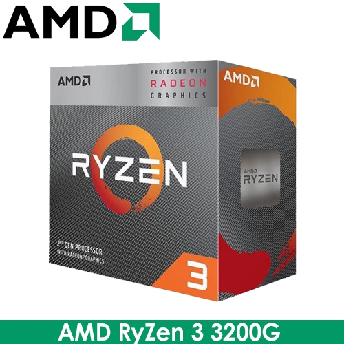 AMD RyZen R3 3200G AM4/4核4緒/3.6G(↑4.0G)/6M/12nm/65W/Vega 8內顯
